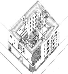 rationalistarchitecture:   OSWALD MATHIAS UNGERS RESIDENTIAL BUILDING / WOHNHOF AM GOETHEPARK IN CHARLOTTENBURG, BERLIN 1980   Theres a sense of assimilation in this work. The typical berlin block (destroyed by the war) is completed by Ungers that use this occasion to elaborate a series of variation of different typological elements, such as doors, windows, openings.
