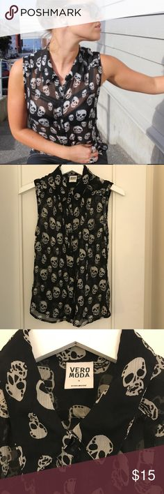 Scull Festival Top | From Norway This cool sleeveless shirt is from a store in Norway called Vero Moda. It's only used a few times. It's very cute with leather pants or jean shorts! Vero Moda Tops Blouses