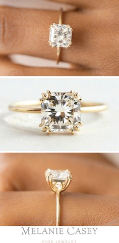 A 2ct. radiant cut diamond solitaire engagement ring with our special touch- a sculptural triple prong setting and a delicate round band! Set in 14k yellow gold, this one-of-a-kind piece if available at melaniecasey.com.