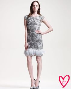 4ee7ff2978d Marchesa Couture BG 111th Anniversary Feather-Trim Cocktail Dress