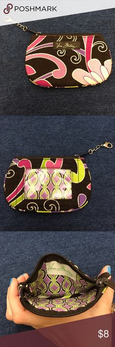 Vera Bradley Zip ID Case in Purple Punch Vera Bradley compact zip ID case with front ID window. Zip compartment holds credit cards and cash.  Condition like new. Vera Bradley Accessories Key & Card Holders