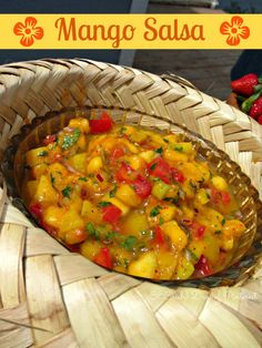 Fresh mango salsa made with fruits and veggies-I could eat this stuff with a spoon! It tastes even better after spending the night in the refrigerator. Awesome with chips or on fish tacos! Luau Food, Hawaiian Luau Party, Hawaiian Punch, Hawaiian Decor, Luau Birthday, Mexican Food Recipes, Ethnic Recipes, Cooking Recipes, Healthy Recipes