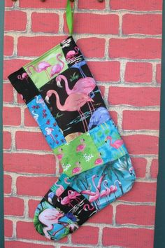 Flamingo Patchwork Christmas Stocking by nameoftherose on Etsy, $25.00