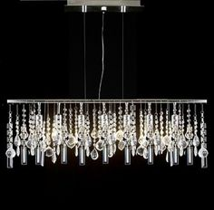 Modern Contemporary Linear Chandelier Lamp With Crystal H58' X W38', Grey