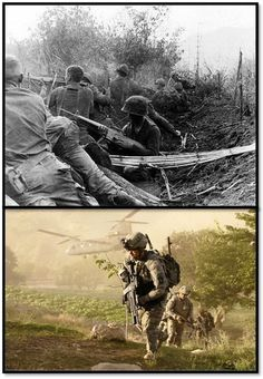 On Sept. 5, 1970, the 101st Airborne Division (Air Assault) participated in Operation Jefferson Glenn. It was the last major operation in Vietnam with U.S. troops. This photo shows 101st Soldiers fighting during in the Vietnam War. Soldier Protective Gear has certainly changed and improved since then compared to the bottom photo of the 101st in Afghanistan. #ThrowbackThursday #101stAirborneDivision