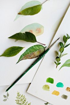 How to paint watercolor leaves - Craftberry Bush