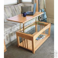 """""""Wooden"""" you like this lovely dual-purpose coffee table / laptop platform? Converts within seconds! - http://www.campingworld.com/shopping/item/swing-up-coffee-table/69085#sthash.2e7UsOU7.dpuf Swing-up Coffee Table - Four Corners 69085 - Tables - Camping World <<N.B. I have no affiliation. 