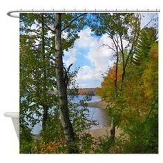 Lake View Scene Shower Curtain Nature Scenery And Wildlife Art Gifts