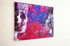 Woman Purple Cat 80x60x2 cm Urbane Kunst, Purple Cat, Berlin, Street Art, Woman, Cats, Artwork, Wall Prints, Canvas