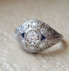Rare Art Deco Old European Diamond and Sapphire Vintage Dome Engagement Ring #Edwardian