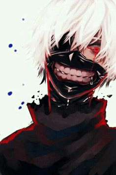 Kaneki Ken, ghoul, white hair, blood, crying, sad, mask; Tokyo Ghoul