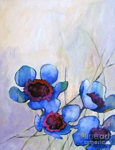 Wax Flowers Blue Painting