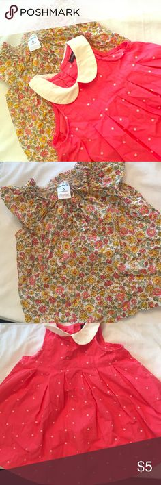 Two 6 Month bundle Pink dress 3-6 months( Baby Gap) floral shirt 6 months GREAT CONDITION (carters) GAP Dresses