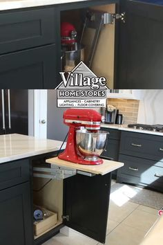 Keep your KitchenAid mixer stored in a mixer lift cabinet that includes and interior outlet and lift and a lock shelf for use. Contact the Midwest kitchen design experts at Village Home Stores for one today.  |   villagehomestores.cm Kitchen Ideas, Kitchen Design, Kitchenaid Mixer, Kitchen Cabinets, Kitchen Appliances, Kitchen Storage Solutions, Kitchen Installation, Shades Blinds, At Home Store
