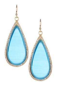 HauteLook | Rivka Friedman: 18K Gold Clad Simulated Diamond Bezel Blue Cat's Eye Crystal Slice Earrings