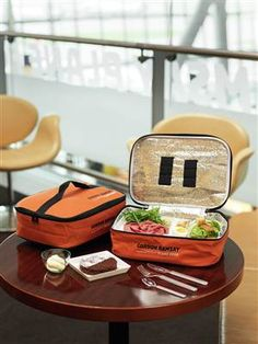 In-flight meal hampers available at Heathrow Airport.