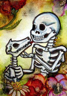 Luree art Original Day of the Dead SKELETON DOG ooak dia de los Muertos ACEO