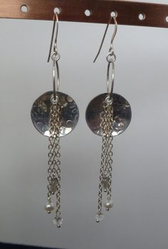 These earrings will surely delight the recipient. OOAK one of a kind and ready to ship.  After doming and texturing the disc - I pierced it and