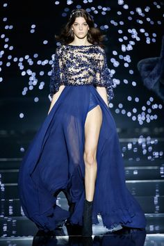 Zuhair Murad 2016 Haute Couture Collection - Fluid long dress with midnight blue crepe georgette cape sleeves and star constellations