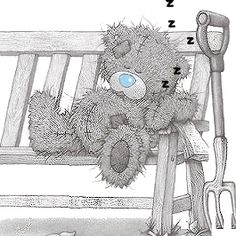 Tatty Teddy ~ rest from garden Tatty Teddy, Teddy Bear Images, Teddy Bear Pictures, Cute Images, Cute Pictures, Photo Ours, Art D'ours, Ted Bear, Arte Black