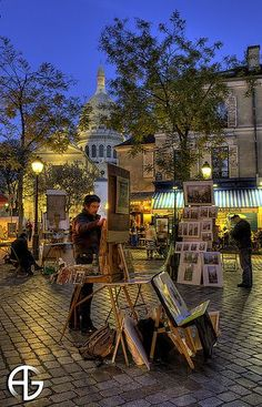 Montmartre, Paris, France I had a charcoal painting done for my Mum. She loved it. I still have it, brings back memories of my first time in France. Montmartre Paris, Paris Travel, France Travel, Paris France, France Art, Places To Travel, Places To See, Belle France, Paris Ville