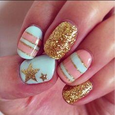 Gold, turquoise & golden stars!