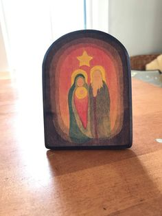 Ostheimer. Retired music box with Mary, Joseph & child (light). Plays silent night. $250 ppd. Photo courtesy of Lisa Naudé. Pinned with permission.