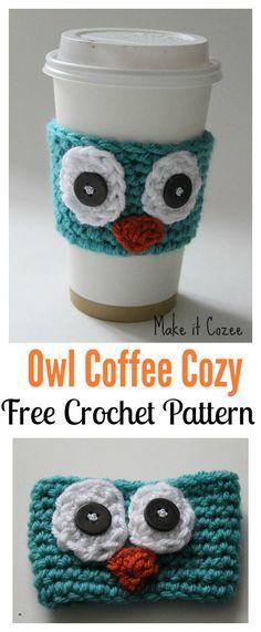 Owl Coffee Cozy Free Crochet Pattern
