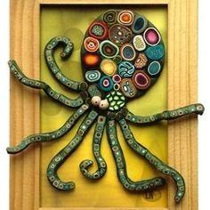 Cadre pieuvre en pâte fimo