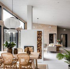 Modern Cabin Interior, Natural Modern Interior, Open Living Area, Cabin Interiors, Modern Interiors, Log Homes, Interior Inspiration, Sweet Home, Room Decor