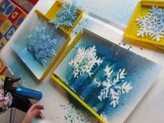 Snowflake Prints (from Teach Preschool) craft, snowflak print, preschool books, spray painting, teach preschool.org