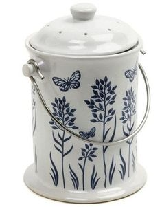 3 Quart Ceramic Compost Pail In Floral Butterfly Design