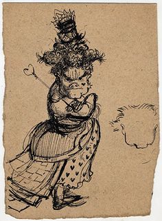 Credit: Mervyn Peake estate 'The Queen of Hearts, she made some tarts/ All on a summer day'. Peake's rough drawing of the Queen of Hearts fr...