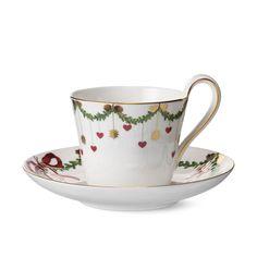 Royal Copenhagen Star Fluted Christmas High Handle Cup & Saucer 24 cl