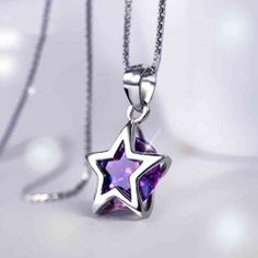 Pentacle Silver Crystal Necklace - USD $74.95