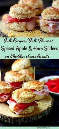 Embrace Fall recipes & flavors with these easy Spiced Apple & Ham Sliders on Cheddar Biscuits! A quick chipotle aioli gives the sandwich a little extra heat Brunch Recipes, Fall Recipes, Appetizer Recipes, Appetizers, Dinner Recipes, Cheddar Biscuits, Cheese Biscuits, Cheddar Cheese, Easy Yeast Rolls