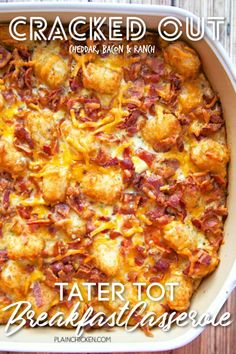 Cracked Out Tater Tot Breakfast Casserole – great make-ahead recipe! Only 6 ingredients! Bacon, cheddar cheese, tater t Breakfast For Dinner, Breakfast Time, Breakfast Dishes, Breakfast Recipes, Chicken Breakfast, Easy Brunch Recipes, Brunch Ideas, Tater Tot Breakfast Casserole, Ranch Mix