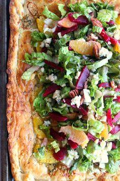 Orange Galette with Beet Gorgonzola Salad - Recipes Holiday Recipes, Holiday Meals, Winter Recipes, Christmas Recipes, Vegetarian Recipes, Paleo Food, Healthy Recipes, Healthy Meals, Great Salad Recipes
