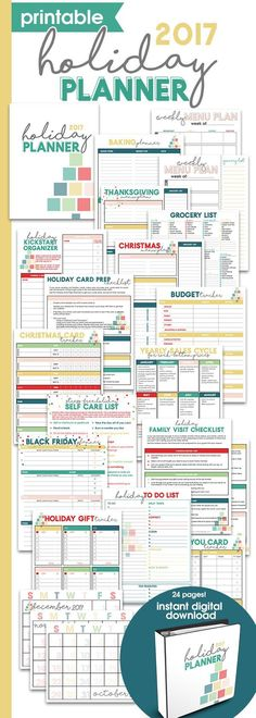 Printable Holiday Planner | Thanksgiving & Christmas Organizer | Holiday Checklists | Holiday Guide for Menu Planning, Budgeting, Gift Buying & more via @moritzdesigns