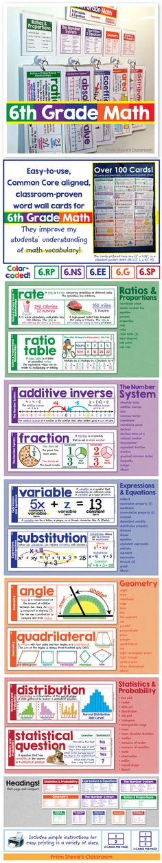 Bring grade math vocabulary to life with these easy-to-use word wall cards. The illustrations help students understand seventh grade math concepts like ratios and proportions, the number system, expressions and equations, geometry, and statistics. Math Vocabulary Words, Math Words, Vocabulary Strategies, Math Teacher, Teaching Math, Maths, Math Math, Math Games, Math Fractions