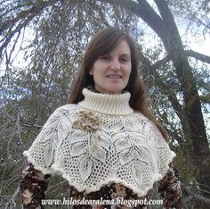 Hilos de Aralena: Cuello abrigado en 5 agujas con flores al crochet