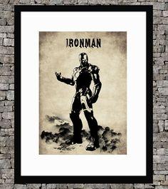 Ironman - Original art  illustration super hero art print - Authentic retro paper page - Vintage marvel art print movie poster