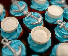 fabulous blue Melting Moments biscuits with silver anchors and white sailors caps... very clever and very delish