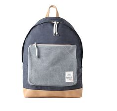 Washed Fabric Backpack with Big Pocket (Navy).