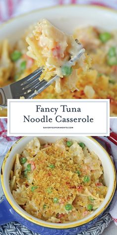 Fancy Tuna Noodle Casserole + VIDEO - A Easy Tuna Noodle Casserole - Fancy Tuna Noodle Casserole comes packed with bow tie pasta, seasoned panko, fresh vegetables and sun dried tomatoes! Tuna Noodle Casserole from scratch! Tuna Recipes, Cooking Recipes, Cooking Food, Noodle Recipes, Drink Recipes, Pasta Dishes, Food Dishes, Main Dishes, Seafood