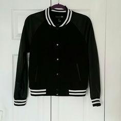 Forever21 fleece letterman Jacket Black fleece letterman style jacket with black buttons Forever 21 Jackets & Coats