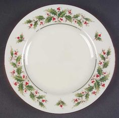 Japan China Holly Yuletide at Replacements, Ltd Bread & Butter Christmas China, Christmas Place, Christmas Dishes, Cozy Christmas, Christmas Time, Antique Dishes, Christmas Paintings, China Patterns, China Dinnerware
