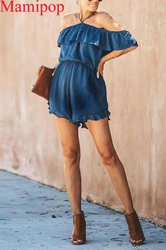The maternity off-the-shoulder pure color romper is a good choice of fashion and you will love it. Maternity Jumpsuit, Backless Jumpsuit, Floral Jumpsuit, Suspender Jeans, Cold Shoulder Dress, Rompers, Pure Products, Manual, Color