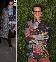 Take heed Gents at the fantastic layering of prints on Hamish Bowles...that's why he's King Fashion Editor!