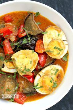 Curry d'aubergines aux oeufs durs